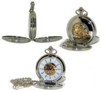 Mechanical Skeleton Hand Wind Pocket Watch